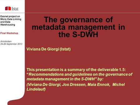 The governance of metadata management in the S-DWH