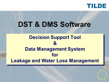 TILDE DST & DMS Software Decision Support Tool & Data Management System for Leakage and Water Loss Management.
