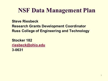 NSF Data Management Plan