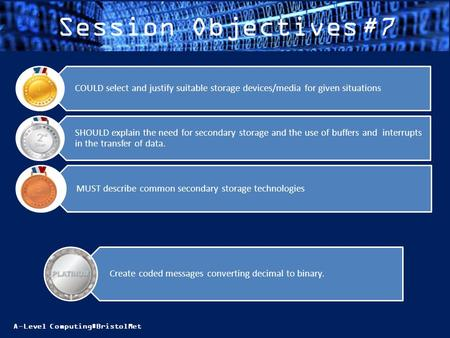 A-Level Computing#BristolMet Session Objectives#7 MUST describe common secondary storage technologies SHOULD explain the need for secondary storage and.