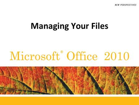® Microsoft Office 2010 Managing Your Files. XP Objectives Develop file management strategies Explore files, folders, and libraries Create, name, copy,