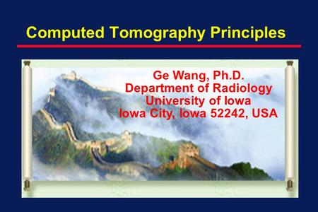 Computed Tomography Principles