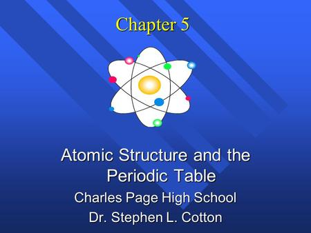 Chapter 5 Atomic Structure and the Periodic Table