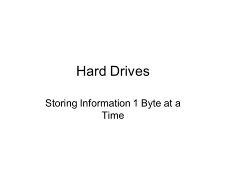 Hard Drives Storing Information 1 Byte at a Time.