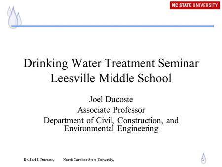 Drinking Water Treatment Seminar Leesville Middle School
