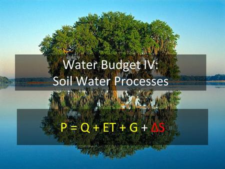 Water Budget IV: Soil Water Processes P = Q + ET + G + ΔS.