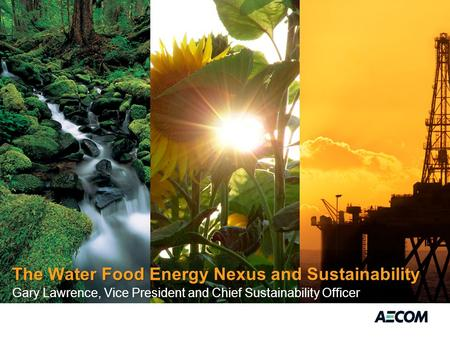 The Water Food Energy Nexus and Sustainability Gary Lawrence, Vice President and Chief Sustainability Officer.