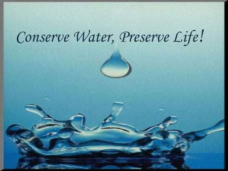 Conserve Water, Preserve Life !. THE WATER THAT WENT DOWN THE DRAIN.