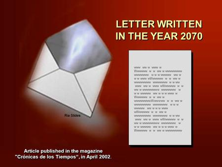 LETTER WRITTEN IN THE YEAR 2070 LETTER WRITTEN IN THE YEAR 2070 www ww w www w Wwwwww w w ww w wwwwwwww wwwwwww w w w wwwww ww w w w www wWwwwww w w ww.