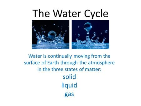 The Water Cycle   Water is continually moving from the surface of Earth through the atmosphere in the three states of matter: solid liquid gas.