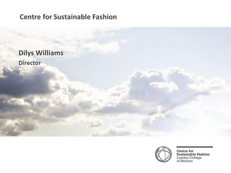 Centre for Sustainable Fashion Dilys Williams Director.
