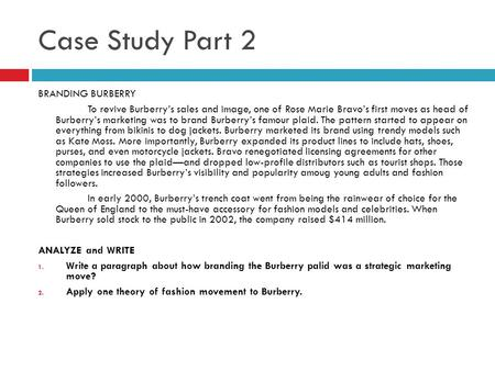 Case Study Part 2 BRANDING BURBERRY