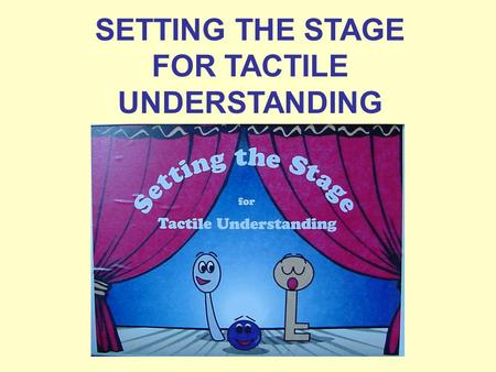 SETTING THE STAGE FOR TACTILE UNDERSTANDING. SETTING THE STAGE FOR TACTILE UNDERSTANDING Setting the Stage for Tactile Understanding is a set of materials.