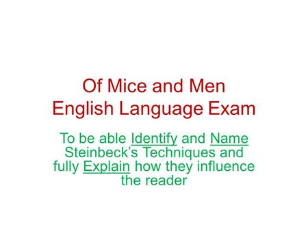 Of Mice and Men English Language Exam