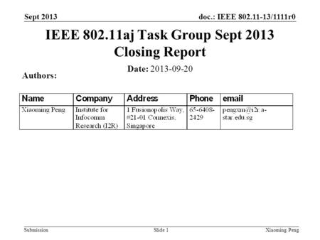 Doc.: IEEE 802.11-13/1111r0 Submission Sept 2013 Xiaoming PengSlide 1 Date: 2013-09-20 Authors: IEEE 802.11aj Task Group Sept 2013 Closing Report.