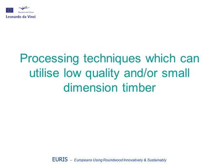 EURIS – Europeans Using Roundwood Innovatively & Sustainably Processing techniques which can utilise low quality and/or small dimension timber EURIS –