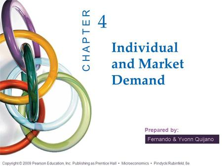 CHAPTER 4 OUTLINE 4.1 Individual Demand 4.2 Income and Substitution Effects 4.3 Market Demand 4.4 Consumer Surplus 4.5 Network Externalities 4.6 Empirical.