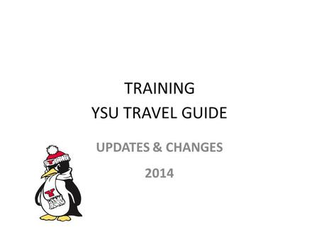 TRAINING YSU TRAVEL GUIDE UPDATES & CHANGES 2014.