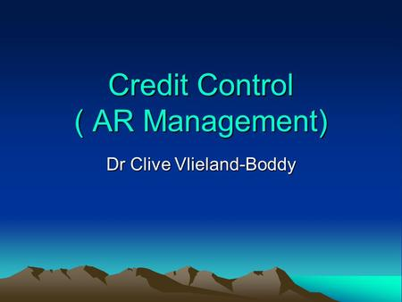 Credit Control ( AR Management)