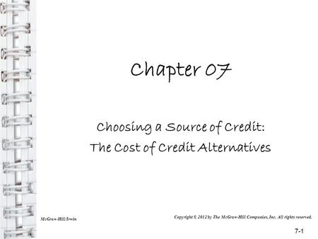 Choosing a Source of Credit: The Cost of Credit Alternatives