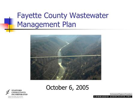 Fayette County Wastewater Management Plan October 6, 2005.