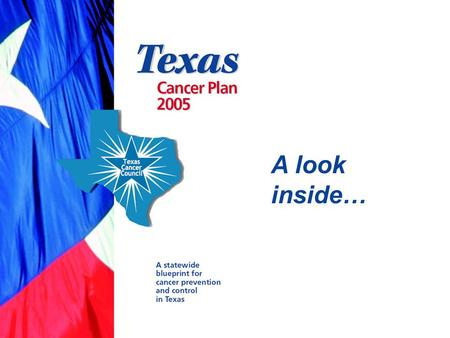 A look inside…. What is the Texas Cancer Plan? A statewide blueprint for cancer prevention and control A consensus-based, strategic document for public-