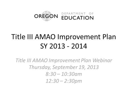 Title III AMAO Improvement Plan SY