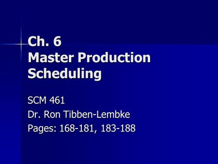 Ch. 6 Master Production Scheduling