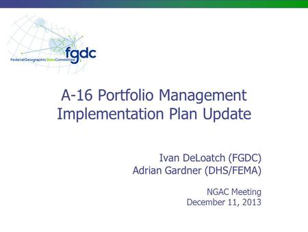 A-16 Portfolio Management Implementation Plan Update