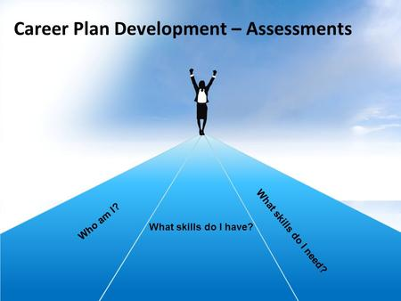 Career Plan Development – Assessments W h o a m I ? What skills do I have? What skills do I need?