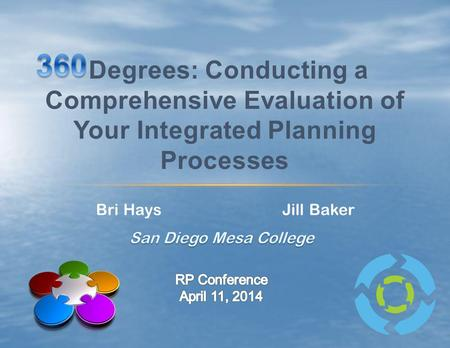 360 Degrees: Conducting a Comprehensive Evaluation of Your Integrated Planning Processes Bri Hays Jill Baker San Diego Mesa College RP Conference April.