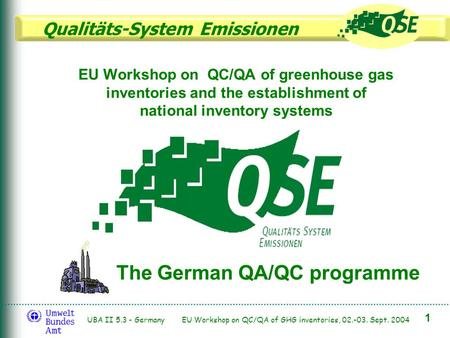 Qualitäts-System Emissionen 1 UBA II 5.3 - Germany EU Workshop on QC/QA of GHG inventories, 02.-03. Sept. 2004 EU Workshop on QC/QA of greenhouse gas inventories.