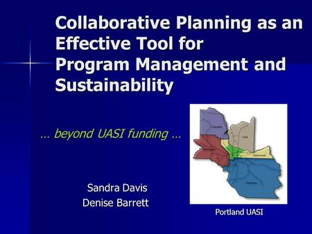 Collaborative Planning as an Effective Tool for Program Management and Sustainability … beyond UASI funding … Sandra Davis Sandra Davis Denise Barrett.