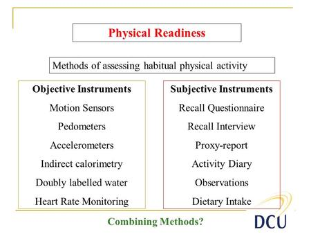 Subjective Instruments Recall Questionnaire Recall Interview Proxy-report Activity Diary Observations Dietary Intake Physical Readiness Methods of assessing.