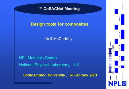 1 st CoSACNet Meeting Neil McCartney NPL Materials Centre National Physical Laboratory, UK Southampton University, 30 January 2001 Design tools for composites.