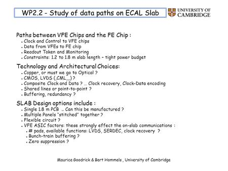 Maurice Goodrick & Bart Hommels, University of Cambridge WP2.2 - Study of data paths on ECAL Slab Paths between VFE Chips and the FE Chip : Clock and Control.