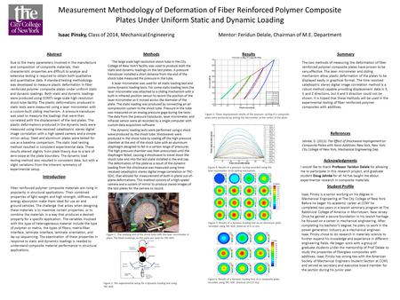 Measurement Methodology of Deformation of Fiber Reinforced Polymer Composite Plates Under Uniform Static and Dynamic Loading Isaac Pinsky, Class of 2014,