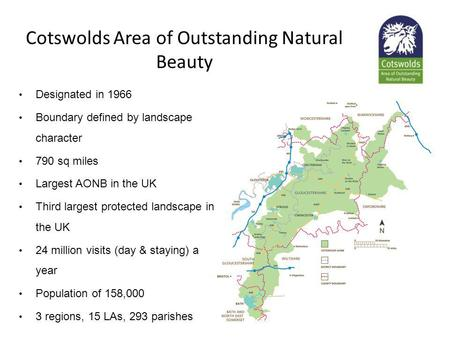 Cotswolds Area of Outstanding Natural Beauty Designated in 1966 Boundary defined by landscape character 790 sq miles Largest AONB in the UK Third largest.