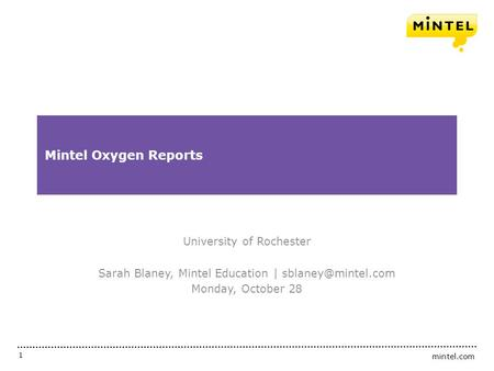 Mintel Oxygen Reports University of Rochester