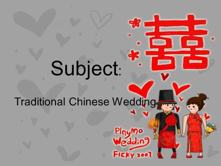 Subject : Traditional Chinese Wedding. Traditional Dressing Bride day time wedding dress 1. One-piece frock Qi Pao