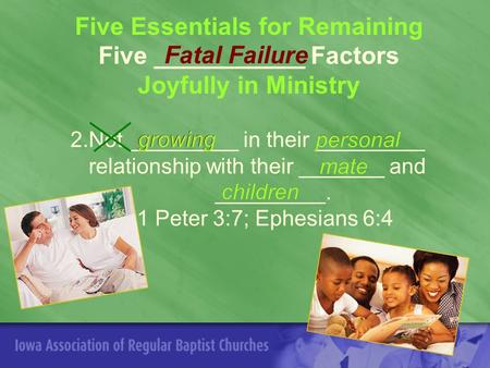 Five Essentials for Remaining Five ___________ Factors Joyfully in Ministry 2.Not _________ in their _________ relationship with their _______ and _________.