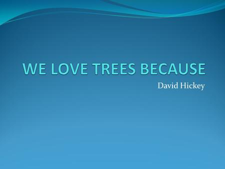 David Hickey. We love trees because Trees soak up carbon dioxide.