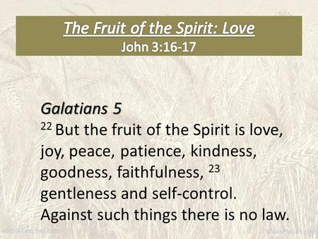 Galatians 5 22 But the fruit of the Spirit is love, joy, peace, patience, kindness, goodness, faithfulness, 23 gentleness and self-control. Against such.