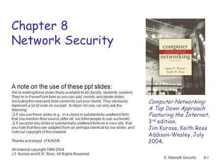 Chapter 8 Network Security