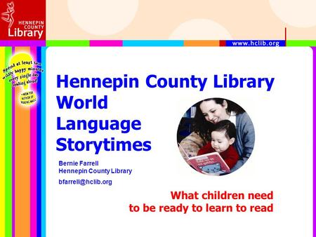 Hennepin County Library World Language Storytimes