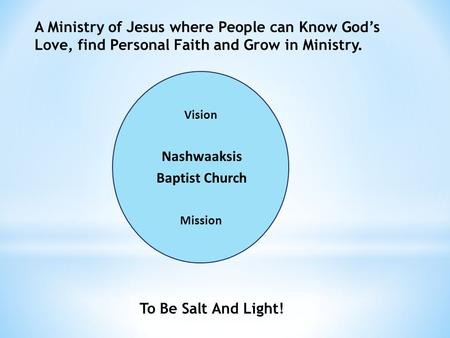 Nashwaaksis Baptist Church A Ministry of Jesus where People can Know Gods Love, find Personal Faith and Grow in Ministry. Mission To Be Salt And Light!