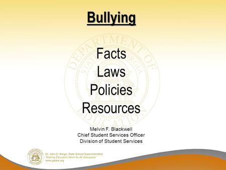Bullying Facts Laws Policies Resources