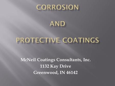 CORROSION And PROTECTIVE COATINGS