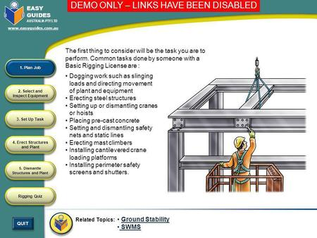 Erecting steel structures Setting up or dismantling cranes or hoists