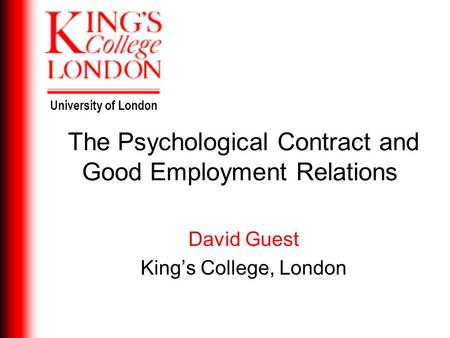 The Psychological Contract and Good Employment Relations
